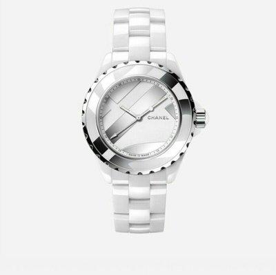 天使熊雜貨小舖~CHANEL J12 UNTITLED腕錶 白色精密陶瓷 搭配精鋼 鍍銠裝飾 限量發行 ~超低價~