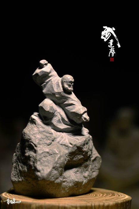 黃添富老師達摩系列石雕作品-武達摩(免運費)精雕細琢創作工房  達摩祖師