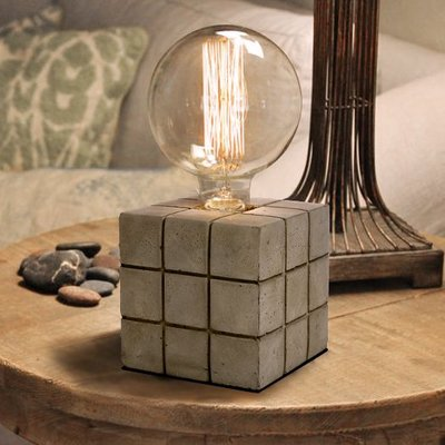 【18Park 】灰冷下的溫度 Cement brick [ 泥磚檯燈-格紋 ]