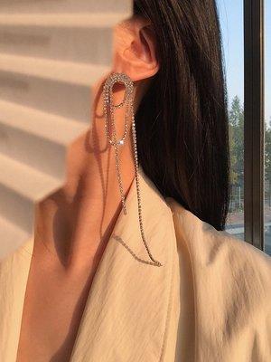 宏美飾品館~耳邊鐺262 閃鉆流蘇大氣靈動耳環夸張長款氣質鑲鉆耳釘潮網紅耳墜