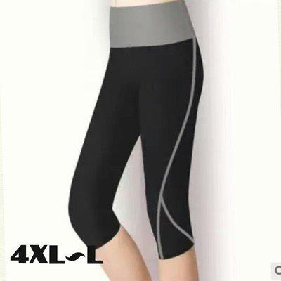 粉粉大尺碼~CY09超大碼七分提臀速乾高腰高彈緊身運動褲/健身4XL~L