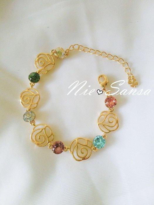 Nie Sansa 現貨特價出清 簍空玫瑰花水鑽彩鑽金色手鍊手環飾品