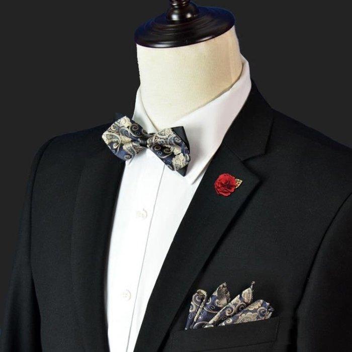 領結 Elviro法式尖角領結色織男正裝結婚花紋時尚伴郎英倫蝴蝶結方巾花