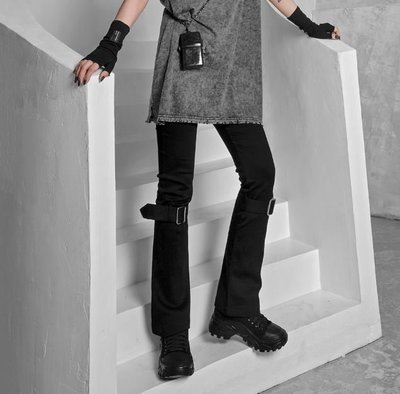 【黑店】原創設計 訂製款黑色彈力小喇叭褲 超顯瘦龐克收膝彈性直筒褲 搖滾個性穿搭暗黑系穿搭九分褲XY114
