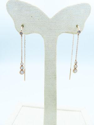 %玉承珠寶%輕珠寶系列~14k玫瑰金天然鑽石水滴垂墜式耳環DE9