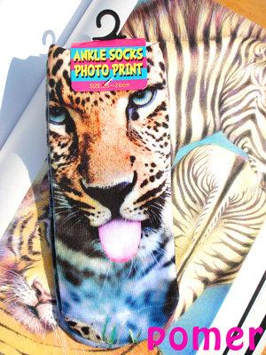 ☆POMER☆日本 古著 仿真 照片 寫實 印刷 創意 逼真 獵豹 花豹 短襪 襪子 船襪 淺口襪 印花襪 3D襪 女襪