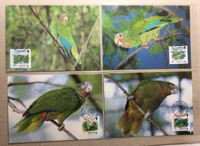 【郵卡庫】【原圖卡】【WWF】【鳥類】開曼群島1993年開曼島亞馬遜鸚鵡 4全 MP0024
