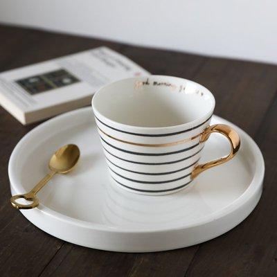 優生活~W2162出口英國陶瓷北歐風黑金條紋英文大口馬克杯/大容量早餐杯