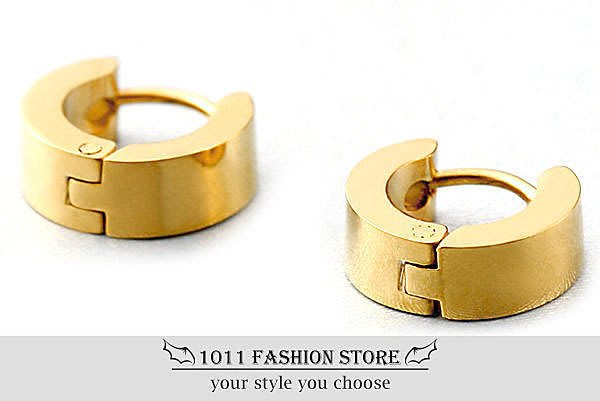【 1011 精品小舖 】韓國 男性 女性 西德鋼 / 鈦鋼 鍍金 素面 耳環 / 耳扣 / 不鏽鋼耳環