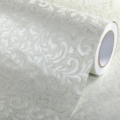 壁紙 墻貼 壁貼 地腳線 房間裝飾 加厚防水歐式自粘墻紙彩裝膜客廳臥室背景PVC自貼壁紙米白抽象花