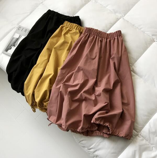 寬褲 抽繩高腰法式複古半身裙 燈籠裙子 中長款褲裙—莎芭