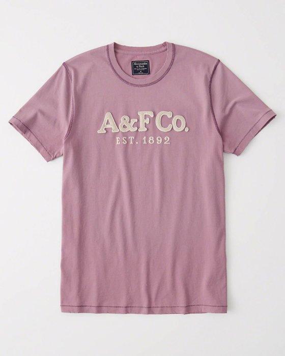 Maple麋鹿小舖 Abercrombie&Fitch * AF 紫色貼布電繡字母短T * ( 現貨L號 )