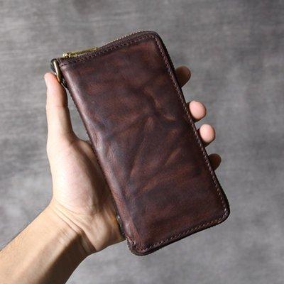 長夾真皮錢包-做舊咖啡植鞣牛皮男女皮夾73vp34[獨家進口][米蘭精品]