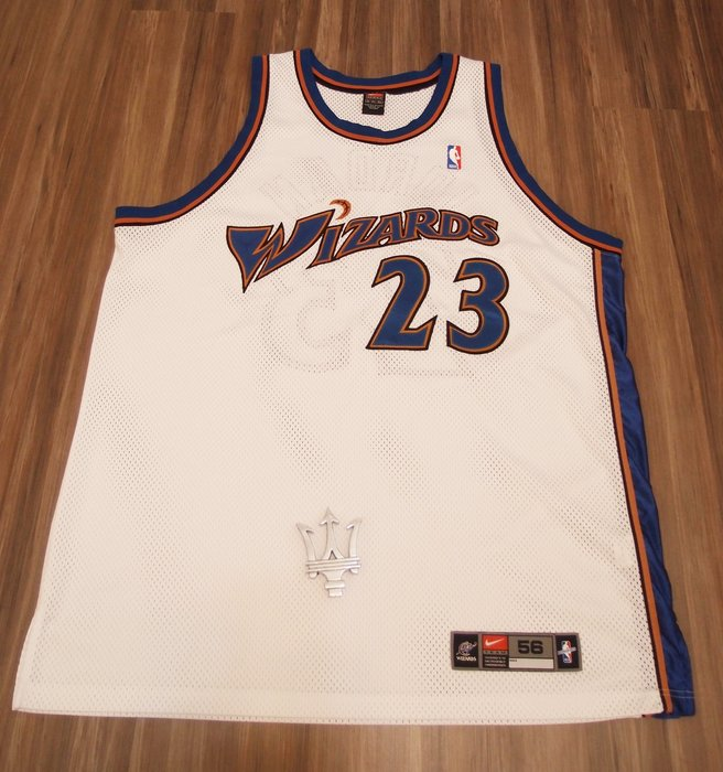 2b5bd902c98d6b NIKE Michael Jordan AU 巫師隊球員版球衣主場白尺寸56 NBA傳奇經典