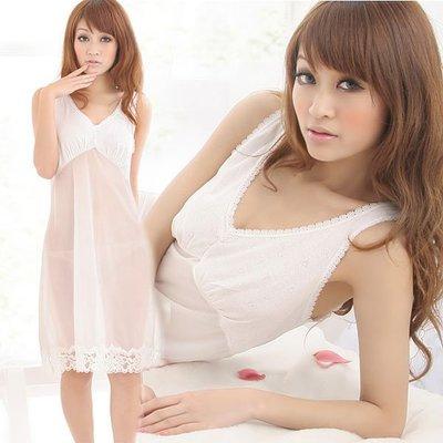 【免免 】新性感主義。裸色睡衣~白色
