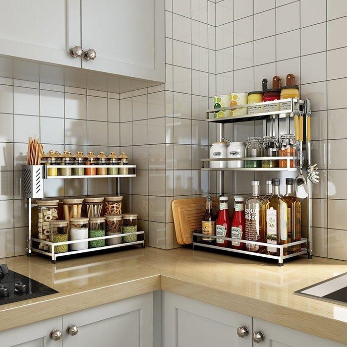 【免運】廚房用品304不銹鋼廚房置物架落地多層收納 菜板刀架用品三層調味調料架子