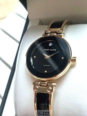 Anne Klein手錶時尚精品錶款,編號:AN00089,黑色錶面金色金屬錶帶款