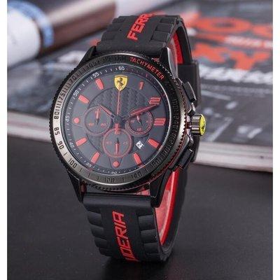 新款法拉利運動手錶三眼可動防水手錶時尚潮流潮流手錶石英機芯男錶女錶情侶對錶畢業禮物GEL9545156【韓佳人】