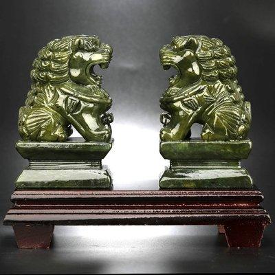 韓國Baby~淘運閣南玉獅子擺件玉石玉雕工藝品一對家居
