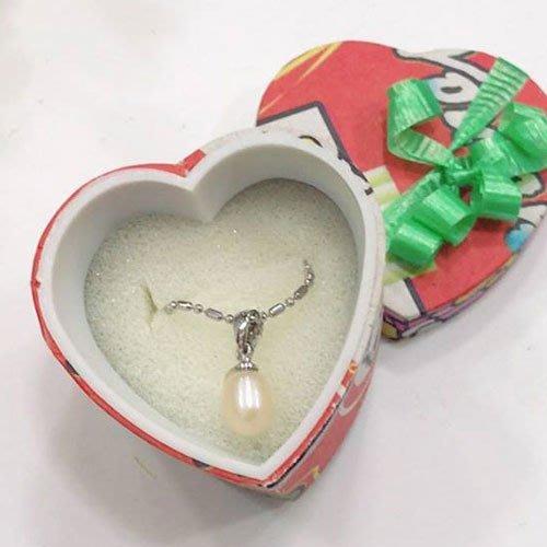 天然珍珠錬墜 925珍珠項鏈 水滴形珍珠墜子 純銀珍珠墜子 短項鍊