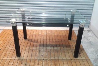 樂居二手家具 便宜2手傢俱拍賣 A0329CJJ 黑腳玻璃大茶几 客廳沙發桌 矮桌 泡茶桌*全新中古家具賣場