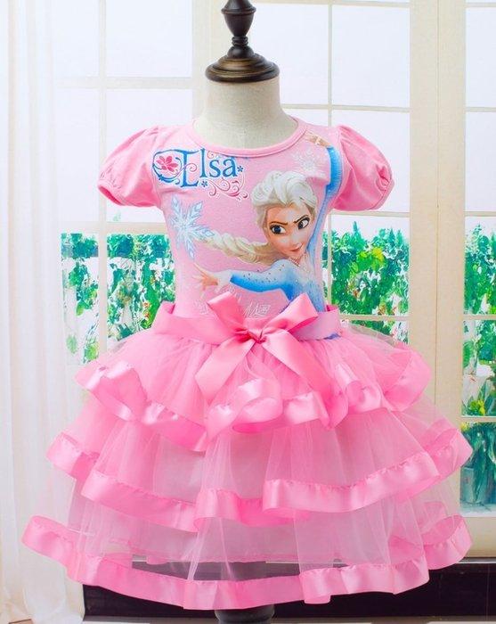 ✿蜜寶貝 🚩萬聖節冰雪奇緣短袖艾莎中小女童造型服飾 萬聖節 耶誔節 洋裝 elsa愛莎裙-0024