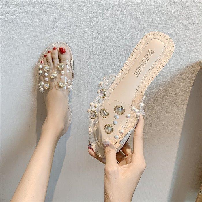 拖鞋 網紅h涼拖鞋女外穿2019夏季新款韓版時尚百搭透明鉚釘一字沙灘鞋