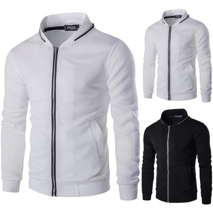 『潮范』 WS08 外貿實拍領子撞色拉鏈裝飾男士修身拉絨衛衣 夾克 棉質立領外套NRB1987