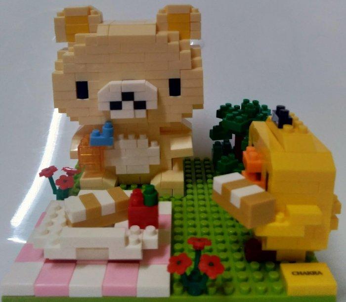 「一番街手作」小懶熊(輕鬆熊)與黃小雞野餐日/積木場景組
