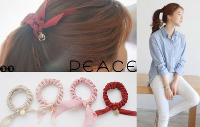 【PEACE33】正韓國空運進口。髮飾飾品 雪紡絹布藝 辮子兔耳朵蝴蝶結吊墜髮繩/髮圈/髮束。現貨 酒紅優惠