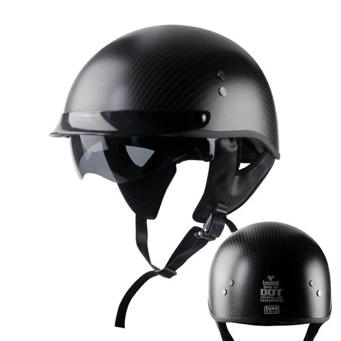 無憂戶外 VOSS碳纖維頭盔摩托車頭盔半盔復古盔太子盔哈雷頭盔 PWHY-237