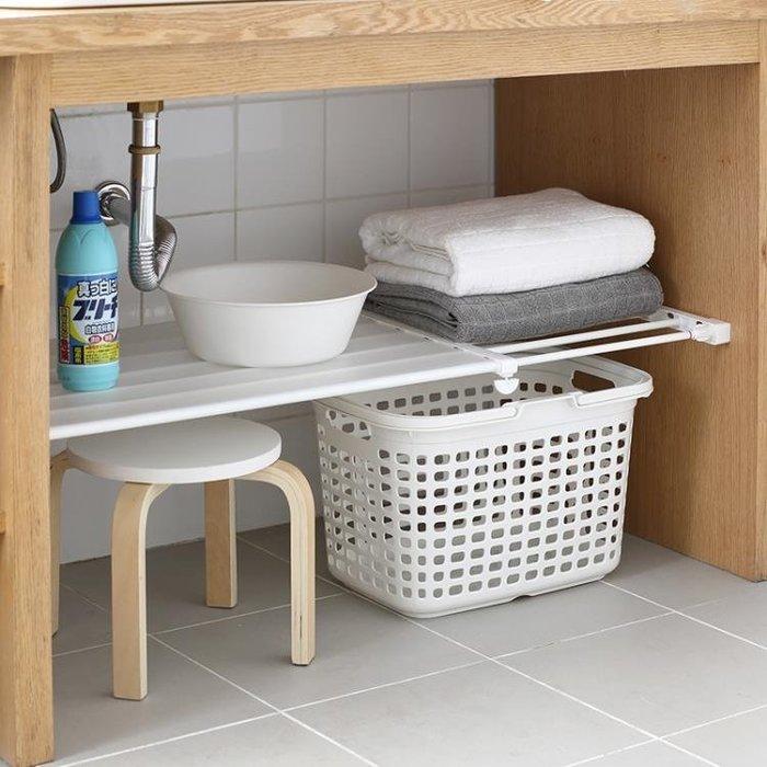 置物架   伸縮分層置物架衣柜子收納廚房櫥柜浴室隔板層架免釘65599 【樂購大賣家】