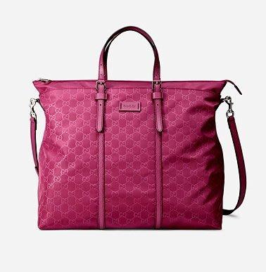已到台最優惠*GUCCI 尼龍假兩層造型兩用包(大/紫紅)387068~超大空間/可斜背當媽媽包