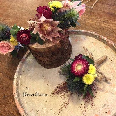 H。頭花圈胸花組。可依照風格及色系客製。客製新娘捧花。新郎胸花。台北自取【Flower&House花藝之家】