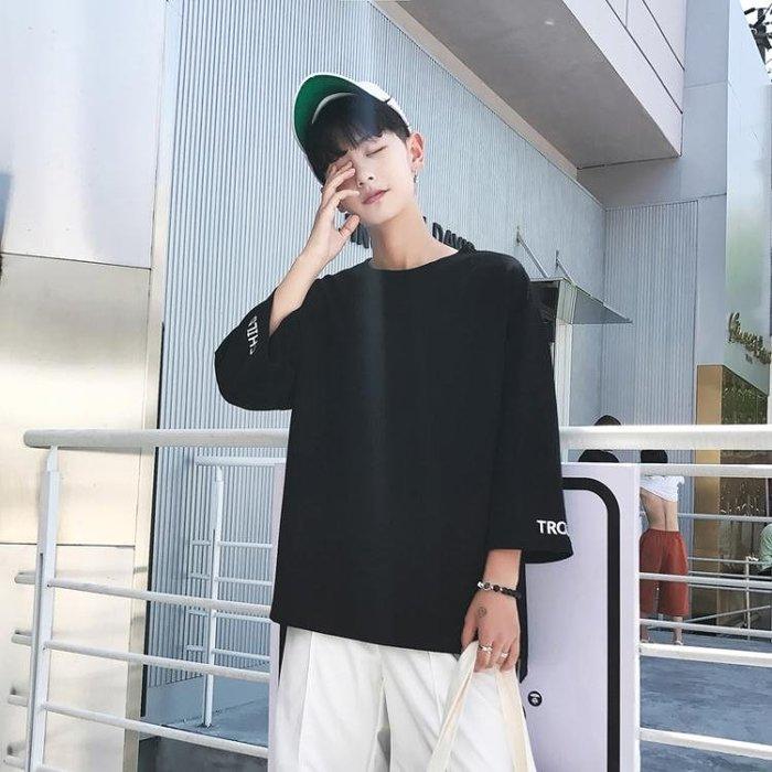 T恤 7七分袖夏季T恤男士寬鬆學生短袖韓版個性潮流半袖5五分袖上衣服 【FOLLOW ME】