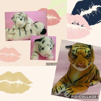 (名牌精品)白老虎x2+褐色老虎絨毛娃娃