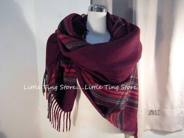 義大利精品英倫風蘇格蘭格紋厚織大方巾披肩圍巾100%WOOL厚純羊毛料觸感 藍綠紫或酒紅