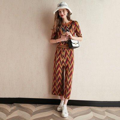 ☆TANG KOREA*╮正韓 刺繡輕薄針織短袖+直筒闊腿褲套裝
