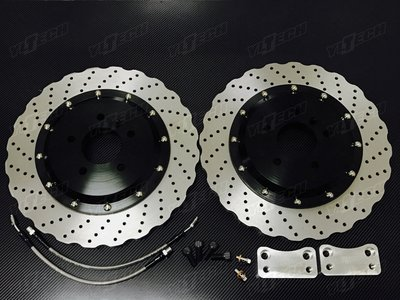 BMW F10 520d 520 523 528 後380mm雙片式加大碟盤【YLTECH】