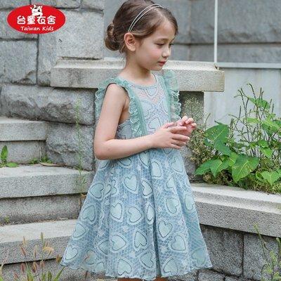 女中大童夏季甜美V型美背愛心蕾絲蓬蓬洋裝裙~110-150~綠色,桔粉色~