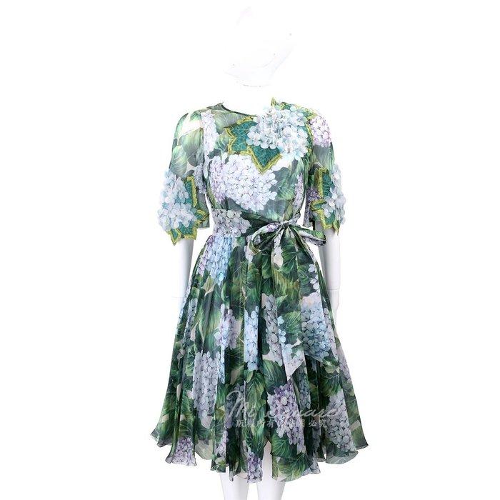 米蘭廣場 DOLCE & GABBANA Ortensia 繡球花圖騰拼貼設計短袖雪紡洋裝 1740027-08