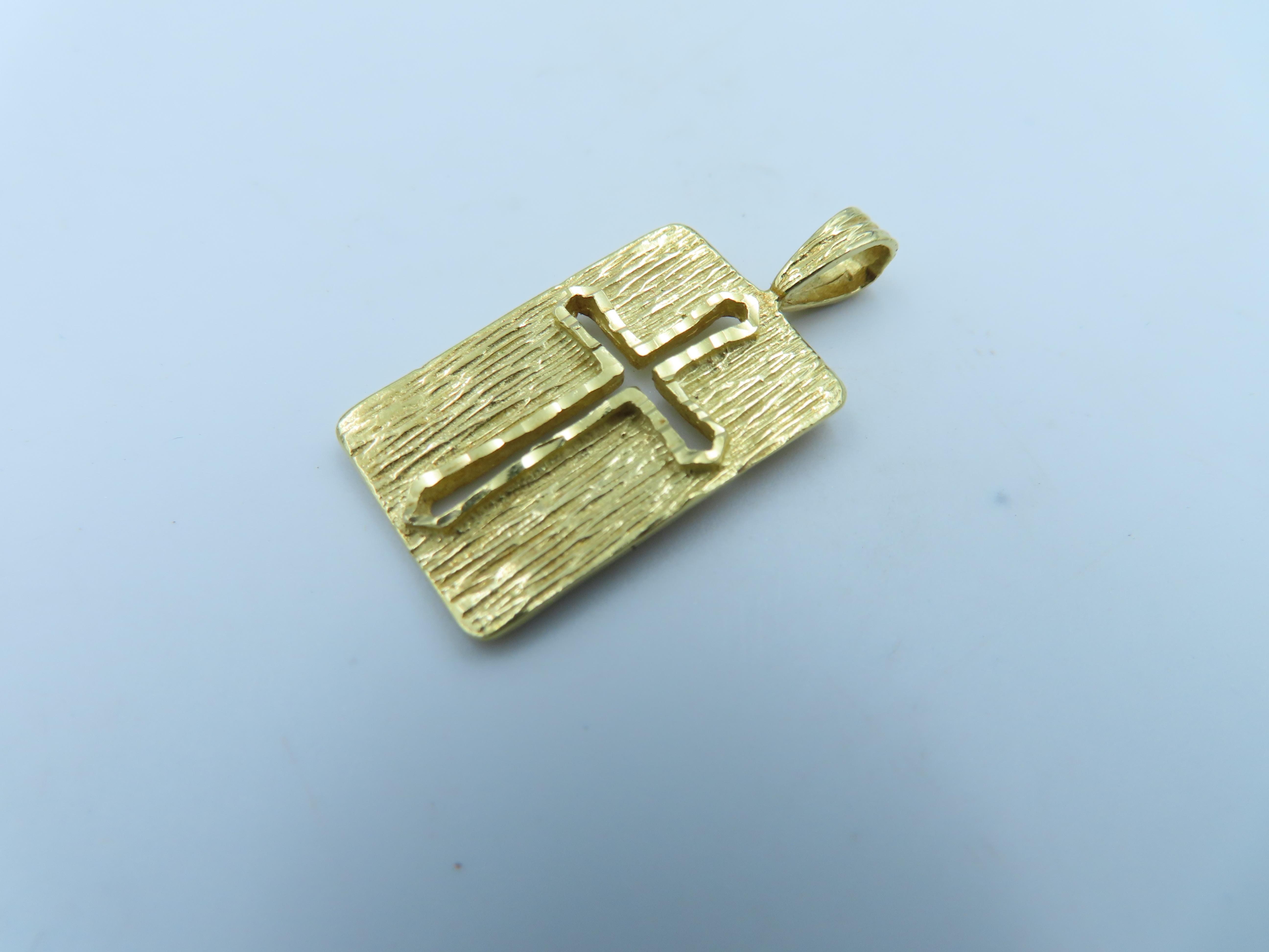 %玉承珠寶%14K金簍空十字架長方形墜子B101(基督教.天主教)