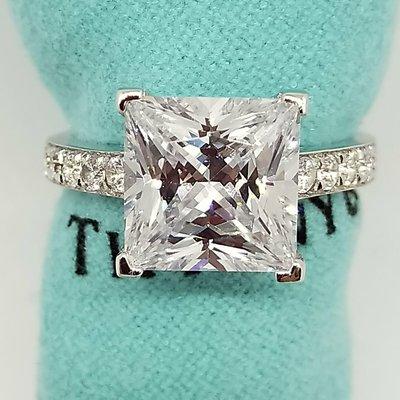 方型鑽石珠寶極光仿真鑽高碳鑽戒指3克拉...