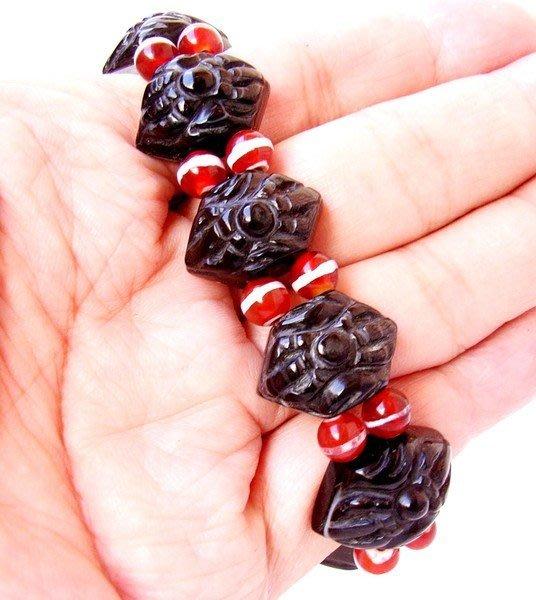小風鈴~高檔天然黑玉髓天珠手鍊-專櫃商品~增加善念的磁場!編號4