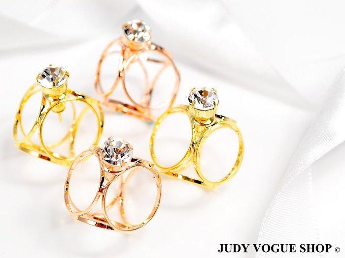 韓國 簡約簍空個性耳環 鋯石點綴 美式個性耳環 JUDY VOGUE SHOP【JES-0011】