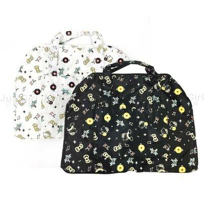 HELLO KITTY 行李袋 旅行袋 收納袋 附背帶 可收納 折疊拉桿旅行袋 配件 正版日本進口 JustGirl
