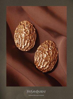 Period-Vintage/蒔光 Yves Saint Laurent聖羅蘭經典絕版復古華麗vintage古董錘紋耳夾