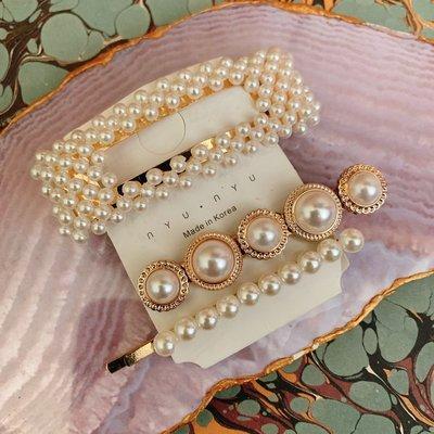 Korea Seoul beautiful pearl hair clip setarte carat 歐美韓國女神款超靚珍珠配飾髮夾套裝 set頭 襯衫