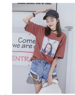 =DiuDiu=韓國首爾 時尚精品 東大門同步 早班車7122 纯棉短袖圓領T恤 大碼寬鬆T恤