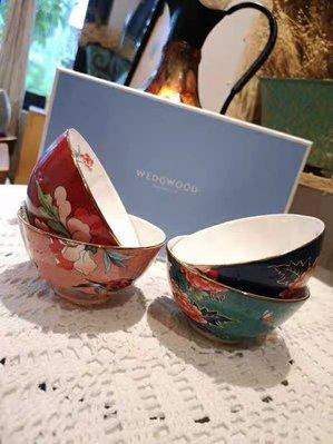 英國WEDGWOOD, 骨瓷 嫣紅牡丹小碗四件套米飯碗